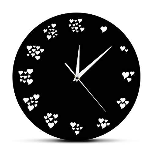 hufeng Reloj de pared con diseño de corazón con texto en inglés 'I Love You Every Seconds' Romántico Wall Art Heart Design - Reloj de pared para decoración de boda con corazones amorosos