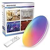 Luces de baño para techo, BIGHOUSE RGBW regulables 18 W 1800 lúmenes LED de techo, 16 opciones de colores, 4 modos de cambio de colores, IP44 impermeable para decoración de fiestas en el hogar