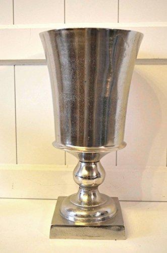 HKT Home Deco Vase Bodenvase Aluminium rustikal Deko Tischdeko Metall Pokal Shabby antik-Silber ca. 36cm Höhe