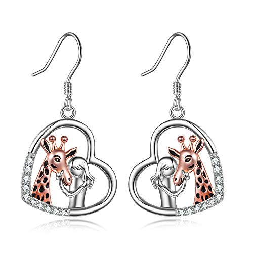 Girl with Giraffe Earrings for Women Sterling Silver Giraffe Jewellery Gifts for Giraffe Lover (Giraffe Earrings)