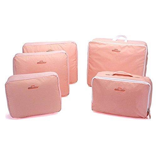 MyLifeUNIT portatile impermeabile Imballaggio Cubi, viaggio imballaggio bagagli accessori 5pezzi/set (Rosa)