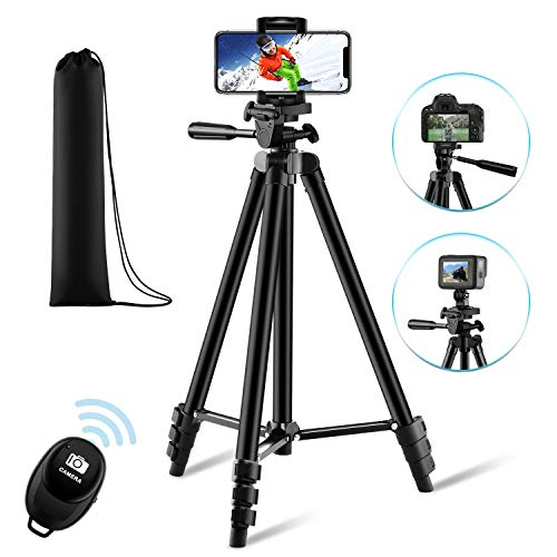 【New Version】 Phone Tripod, Premium Aluminum Alloy Camera Tripod with Cell Phone Mount & Wireless Bluetooth Remote, Professional 50