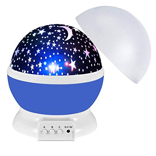 Docooler Proyector de luz nocturna de estrellas para niños, lámpara de proyección giratoria de 360 grados lámpara de escritorio LED que cambia de colores con cable USB, Para niños, cumpleaños, Navidad