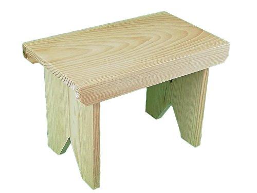 Taburete de madera rústico. En crudo, para decorar. Escalón. Medidas (ancho*fondo*alto): 34 * 20 * 24 cm.