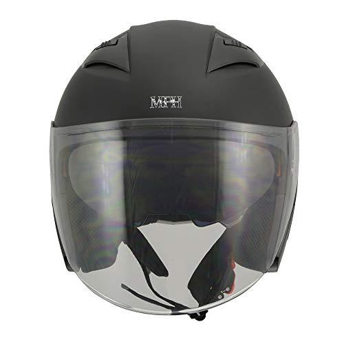 Milwaukee Performance Helmets Men's Open face 3/4 Helmet (MAT Black, L)
