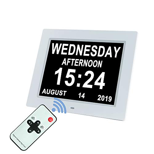 [Upgraded 10 Inch] Digital Day Calendar Clock Auto-Diming & 8 Alarms Options Extra Large Non-Abbreviations Dementia Impaired Vision Senior Clocks for Memory Loss Alzheimer Eldarly