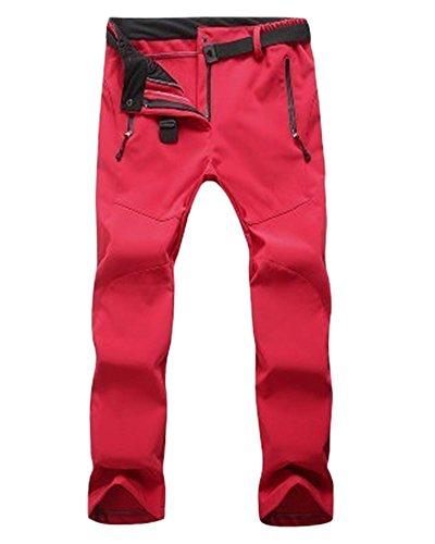 ZongSen Grande Taille Homme Femme Pantalon de Ski Épaississement Coupe-Vent Imperméable Résistant à l'usure Outdoor Camping Randonnée Trekking Pantalons Rouge Femmes S