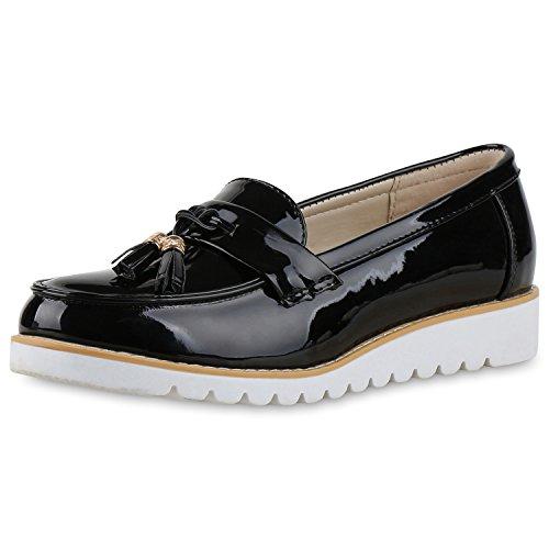 SCARPE VITA Damen Tassel Loafers Metallic Lack Slipper Schuhe Profilsohle 164079 Schwarz 39