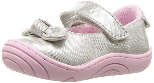 Stride Rite Girls' SR-Lily Mary Jane Flat, Silver, 5 M US Toddler