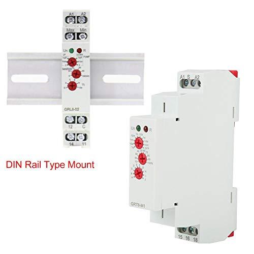 Digitale tijdrelais voor DIN-rails, AC/DC 12 V-240 V multifunctionele DIN-rail instelbaar vertragingsrelais tijdschakelaar met 10 modi, voor verlichtingscontrole, industriële verlichting, traplicht
