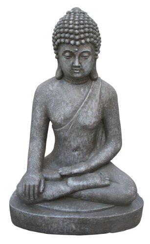 Stone-Lite Boz 401M Statuette Bouddha Assis Bhumisparsha Mudra Gris Clair