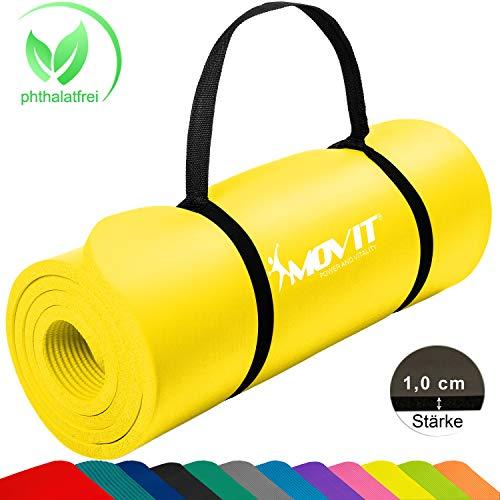 Movit Pilates Gymnastikmatte, Yogamatte, phthalatfrei, SGS geprüft, 183 x 60 x 1,0cm, Yoga Matte in Gelb