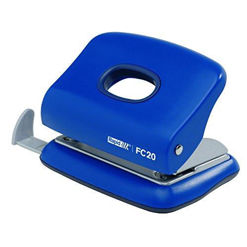 Rapid 23256401 Kleiner Locher (20 Blatt, Anschlagschiene mit Formatvorgaben, Metall, FC20) blau