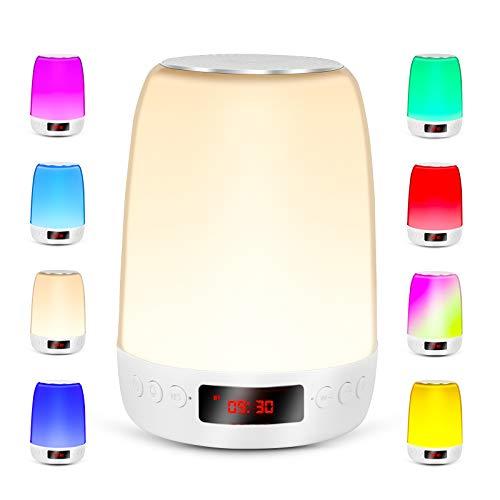 REAWUL Touch Nachttischlampe mit Wecker, Nachtlicht mit Bluetooth Lautsprecher, 3-Stufiges Warmes Licht und Bunte LED Touch Lampen für Schlafzimmer, Geschenk für Frauen, Männer, Teenager, Kinder