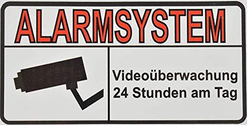 10 + 10 bonus: Premium vinyl stickers alarmsysteem - videobewaking - hoogwaardig & UV-bestendig - 10 x 5 cm - buiten te bevestigen op muren, ramen, poorten, deuren (kleefoppervlak voor)