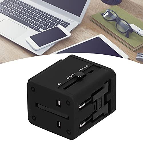 Adaptador de Corriente Internacional, Cargador de Pared Universal Material ABS ignífugo con Puerto USB para Reino Unido UE para EE. UU. AU