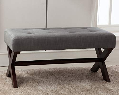 chairus Fabric Upholstered Entryway Bench Seat, Gray 36 inch Bedroom Bench Seat with X-Shaped Wood Legs for Living Room, Foyer or Hallway