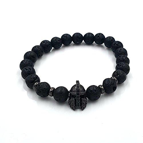 Exclusivo de pulsera Lava Piedra Piedra Natural perlas de alta calidad Sparta Casco Perla Pulsera Negro Casco Acero Inoxidable Onyx Antiguo Beads Paracord Lawa Black Gladiator Ritter