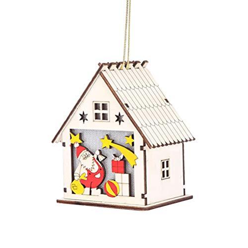 Vosarea Holz Beleuchtetes Weihnachtshaus mit Weihnachtsmann Weihnachtsbaum Hänge Deko