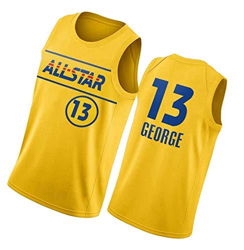 PTELEA Hombres Fitness Clipper Baloncesto Tops Moda George Jersey #13 Oro, dorado, S