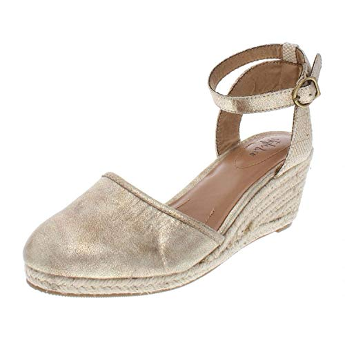 Price comparison product image Style & Co. Womens Mailena Closed Toe Casual Platform Sandals,  Gold,  Size 7.5