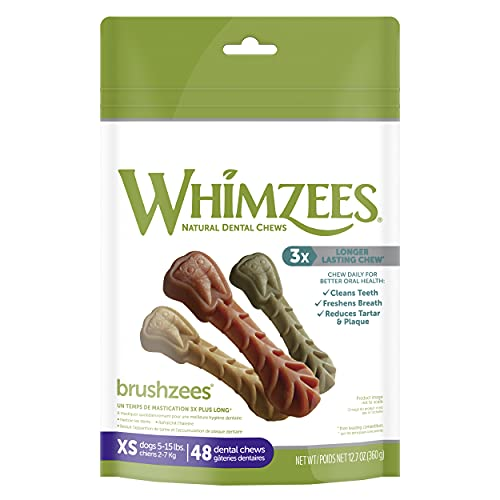 WHIMZEES Natural Grain Free Daily Dental Long Lasting Dog Treats, Brushzees, Extra Small, Bag of 48