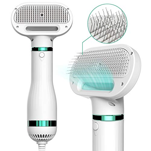 iPettie Upgraded Pet Hair Dryer with Slicker Brush, 3 Heat Settings, One-Button Hair Removal,...