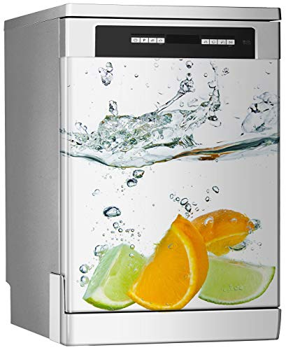 Megadecor decoratief vinyl voor vaatwasser, afmetingen standaard 67 cm x 76 cm, citruspenser op een witte achtergrond.