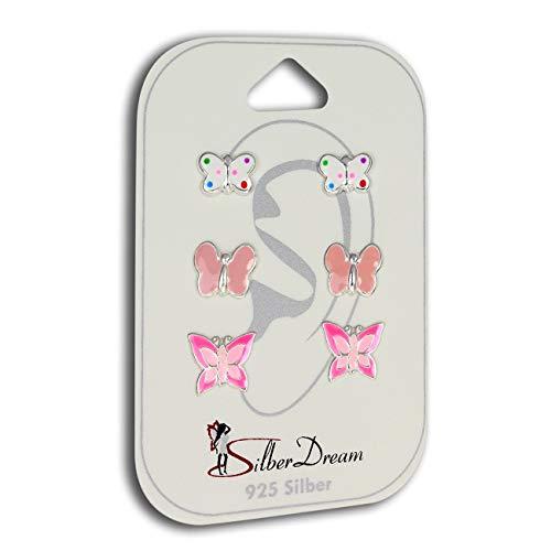 Teenie-Weenie SILBER SET 3er Ohrringe Ohrstecker Schmetterlinge Kinder D2SDS802A ein schönes Geschenk zu Weihnachten, Geburtstag, Valentinstag für Kinder