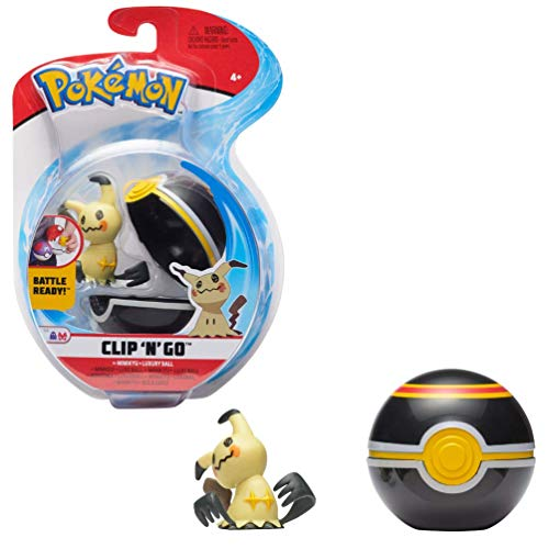 Pokémon Clip 'N' Go Mimikyu Mimigma & Pokéball, Enthält 1 5cm Figur & 1 Poké Ball, Neue Welle 2021, Offiziell Lizensiert