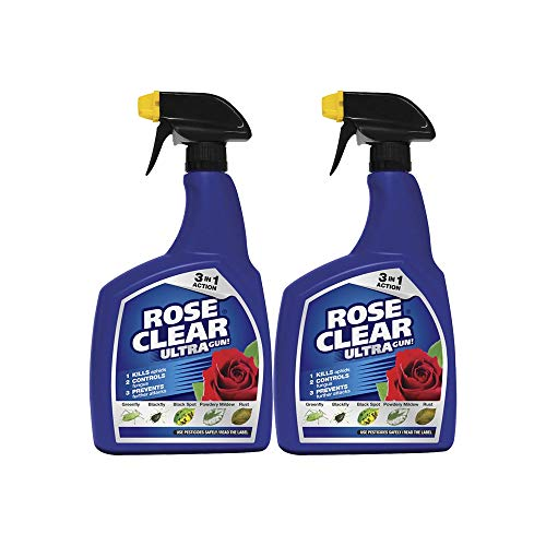 Rose Clear Ultra Gun Fungicide & Insecticide Spray 1 Litre Fights Blackspot & Rust (2 Bottles)