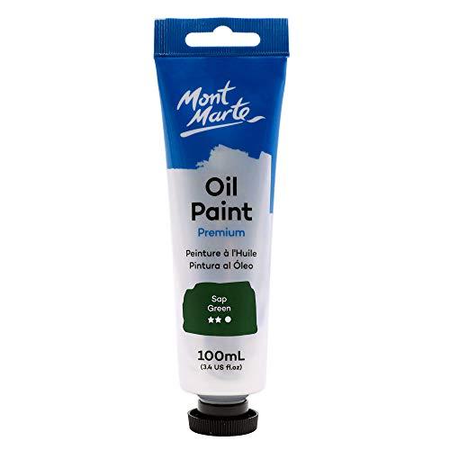 Mont Marte Premium Oil Paint, 100ml (3.4oz), Sap Green, Good Coverage, Excellent Tinting Strength