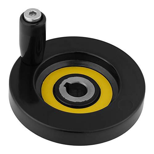 1 Unids Negro Torno Fresadora Rueda de Mano de Ondulación Trasera con Manija Giratoria(12 * 80mm)