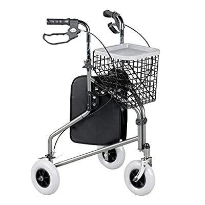 Homecraft Folding Three Wheeled Rollator, Tri Mobility Walker with Lockable Cable Brakes, Carry Bag, Basket and Tray, Walking Mobility Aid, Lightweight Foldable Steel Frame, Quartz