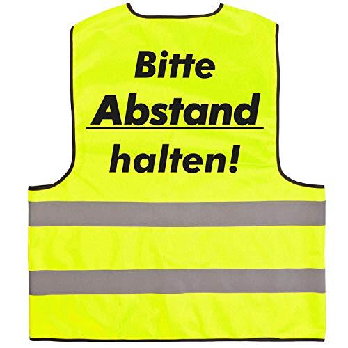 Warnweste · Bitte Abstand halten · Funktionsweste Sicherheitsabstand Abstand halten 1,5m 2m Gelb Orange Neon Prävention Kontaktsperre Ausgangssperre Sicherheit · Gelb (Druck Schwarz) XXL