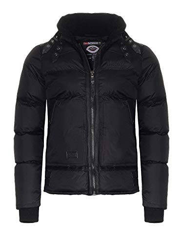 Geographical Norway Mens Winter Jacket Corvette Quilted Jacket with Fleece Collar Black M