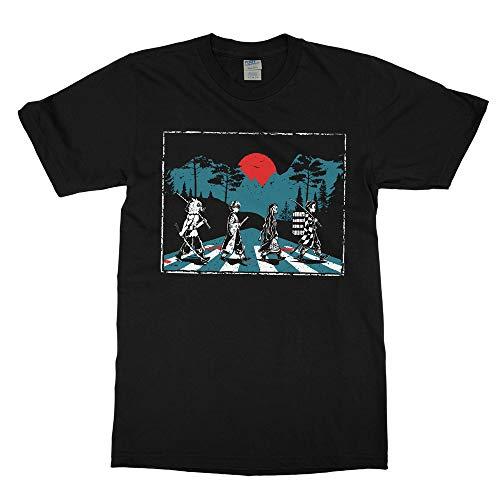 Demon Slayer Abbey Road Tanjiro Nezuko Zenitsu Inosuke T Shirt (Large) Black