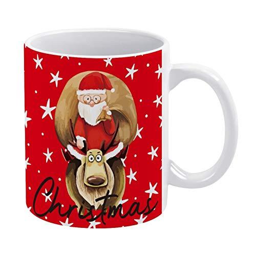 Taza de café de cerámica para regalo de té, taza divertida de café con texto en inglés 'Merry Christmas', 325 ml