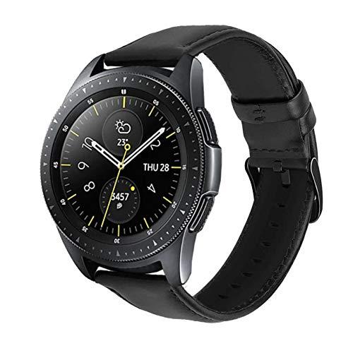 Armbänder Leder Kompatibel mit Samsung Galaxy Watch Active 2/Galaxy Watch 46mm/Huawei Watch GT2 42mm/Garmin vívoactive 3 Music GPS Uhrenarmband für Herren&Damen (20mm, Schwarz+Schwarz Schnalle)