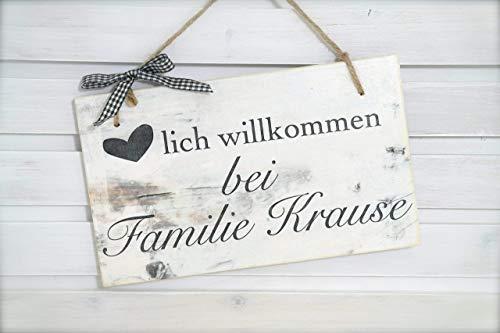 Türschild aus Holz mit dem Name der Familie, Personaliiserte Geschenkidee, Holzgeschenk zur Hochzeit, zum Richtfest, zu Weihnachten uvm.