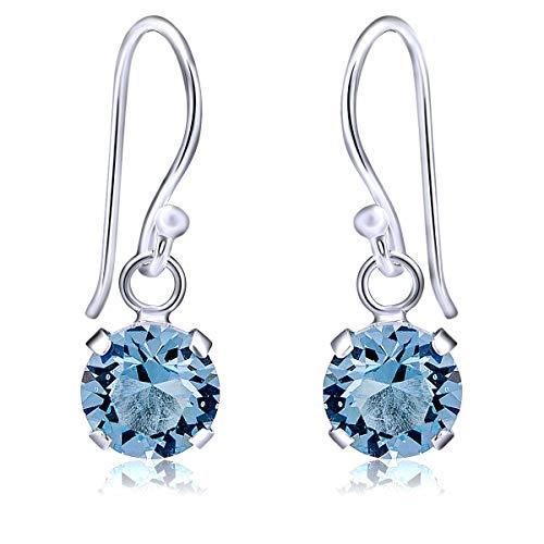 DTP Silver – Pendientes colgantes de plata - Cierre de gancho- Forma redonda - Plata 925 con Cristal Swarovski Diámetro 8 mm – Color: Agua marina/Azul ligero