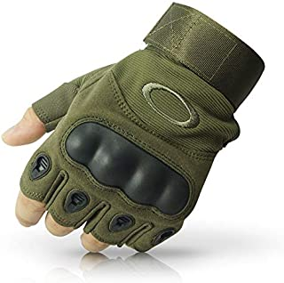 LALA LIFE Nylon Half Finger Hard Knuckle Motorcycle Arm Shooting Gym Gloves (XL)
