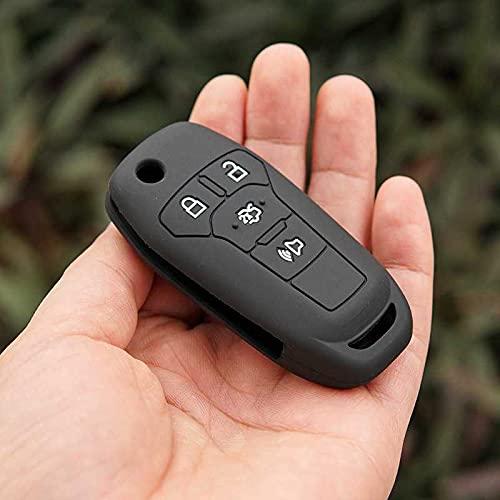 LZZCTB Cubierta de la llave del coche, rana silicona llavero inteligente, entrada sin llave, caja de botón, ajuste para Ford ka 2017 Focus Fiesta fusión F150 F-150 Mustang Explorer