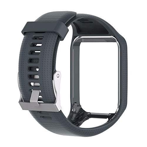 WEIHUIMEI 1 UNID Reemplazo Banda de Silicona Reloj Deportivo Banda de Pulsera para Tomtom Runner 2/3 Spark 3 Sport GPS Reloj (Grey)