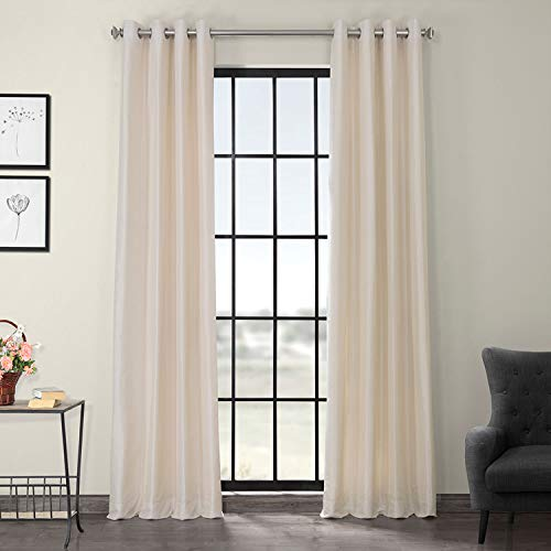 HPD Half Price Drapes PDCH-KBS2-96-GRBO Grommet Blackout Vintage Textured Faux Dupioni Silk Curtain (1 Panel), 50 X 96, Off White