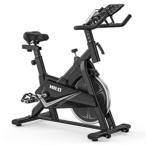Exercise Bike Stationary, Indoor Cycling Bike with Silent Belt Drive & LCD Monitor for Home Cardio Workout Bike Training
