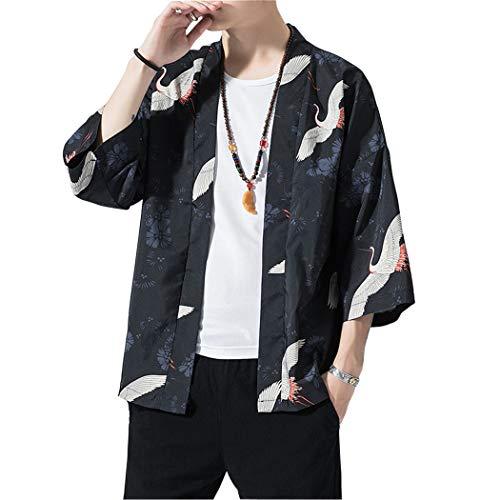 MISSMAOM_Fashion2019 Hombres Vintage Japonés Kimono Camisa Haori Estampado Holgado Cárdigan,7112,XL