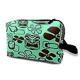 Neceser Colgante de Viaje,Colorido patrón exótico Hawaiano Tiki Paradise,Organizador de Maquillaje cosmético Bolsa de higiene y Organizador de Ducha