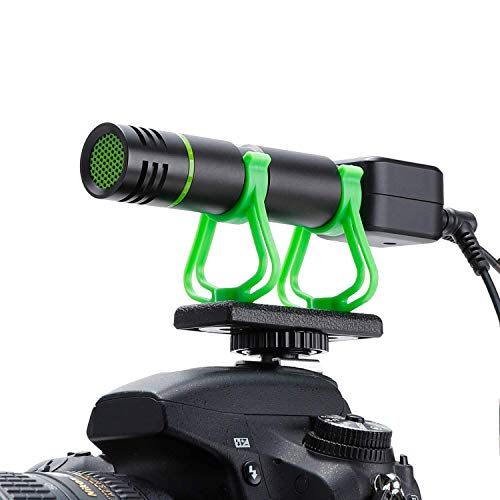 Camera Microphone, Video Microphone for iPhone, Shotgun Mic for Sony, Nikon, Canon DSLR Camera, Rechargeable(Work 10 Hrs),with Windscreen, Phone Tripod, Headphone Out, for Video, Interview, YouTube