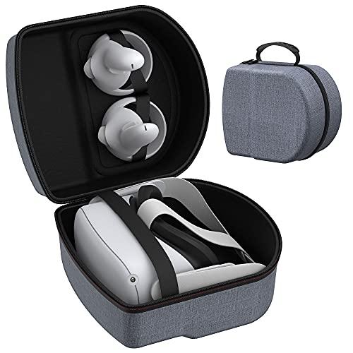 KIWI design Borsa Custodia da Viaggio Rigida per Oculus Quest 2,Custodia da Trasporto Impermeabile Antiurto Proteggi Oculus Quest 1 2 VR Cuffie da Gioco e Controller Accessori- Grigio